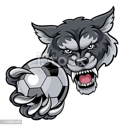 A wolf angry animal sports mascot holding a soccer football ball