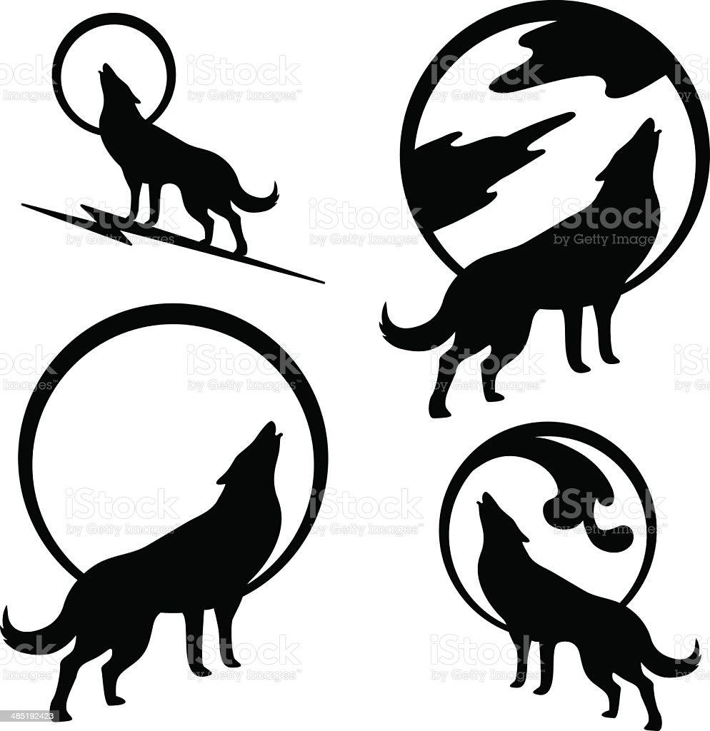 Wolf Howling at Full Moon vector art illustration
