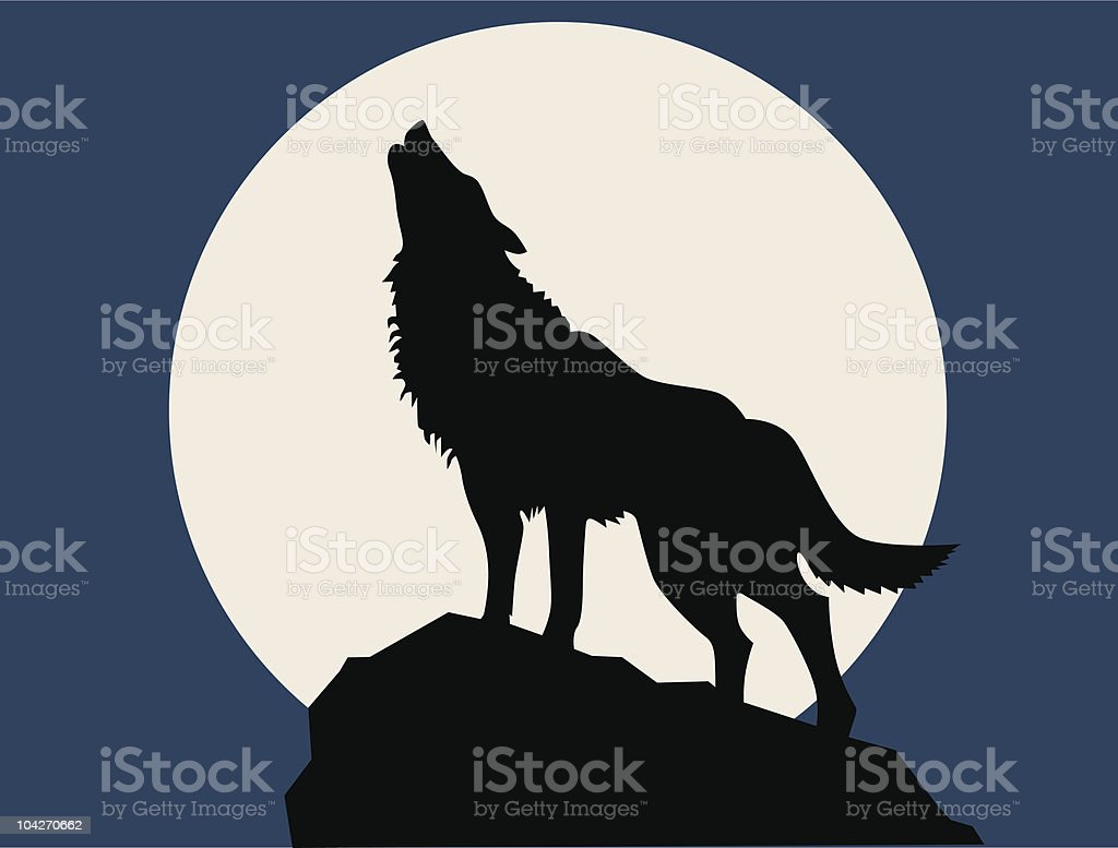 wolf howling at the full moon vector art illustration