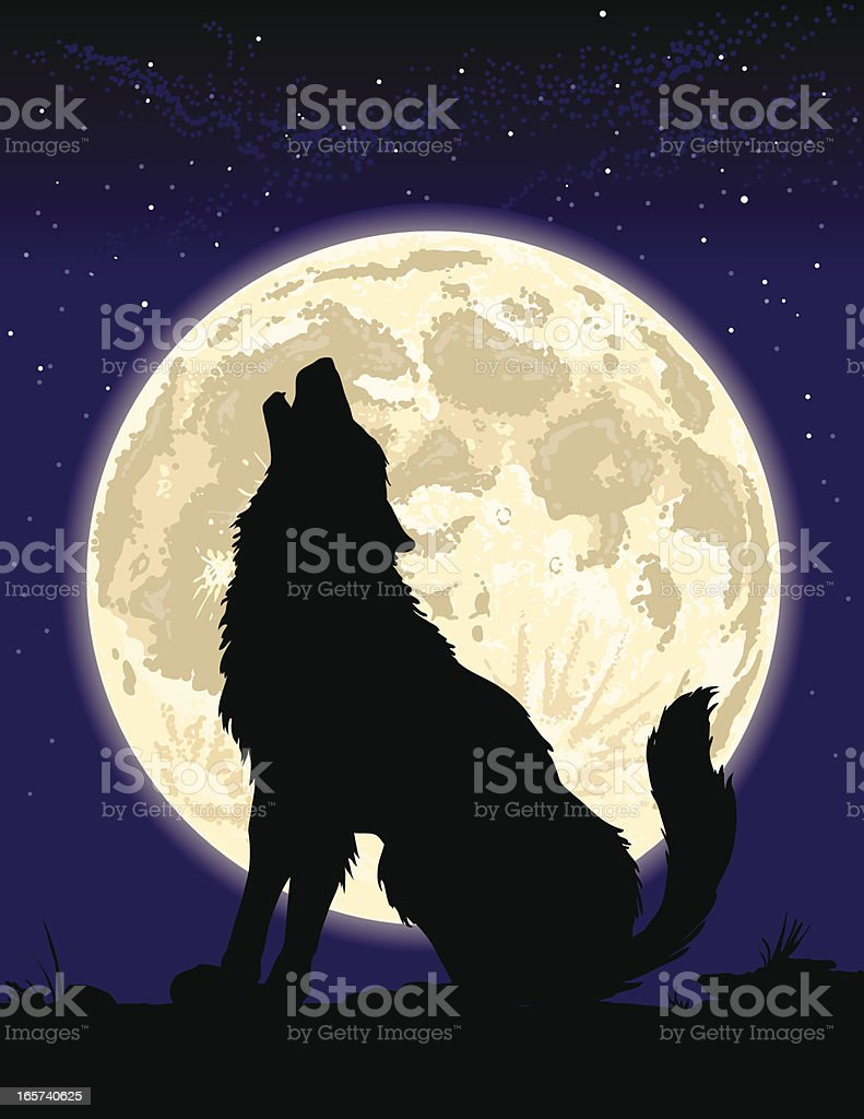 Wolf howling at the Moon vector art illustration
