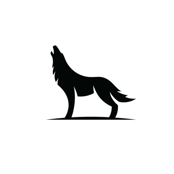 Wolf howling icon isolated on white background Animal icon vector collection silhouette of a howling coyote stock illustrations
