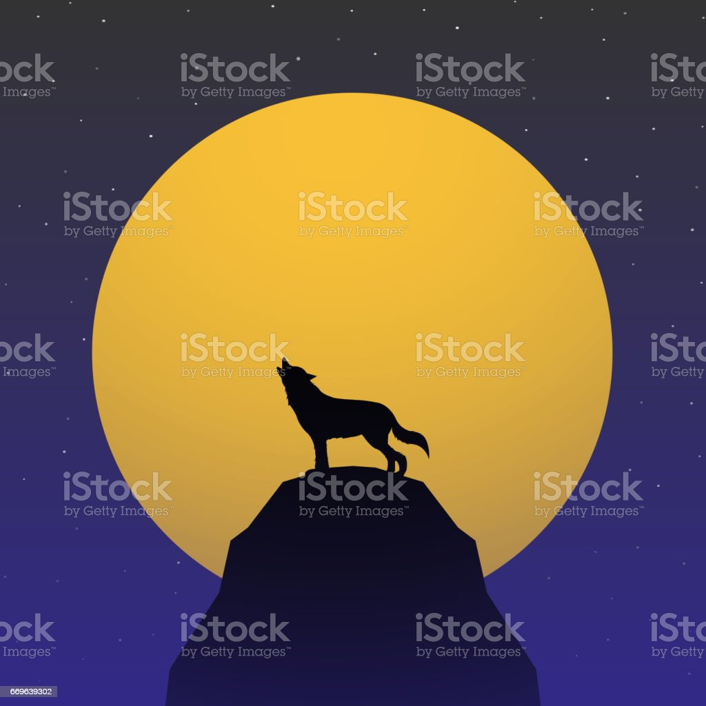Wolf howling in front of Super moon vector art illustration