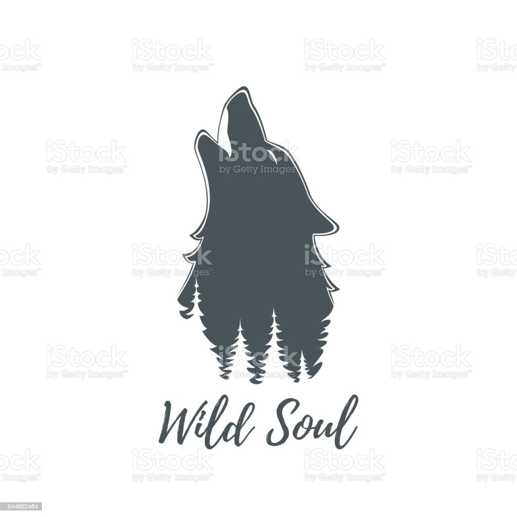 Wolf howling. Logo template. vector art illustration