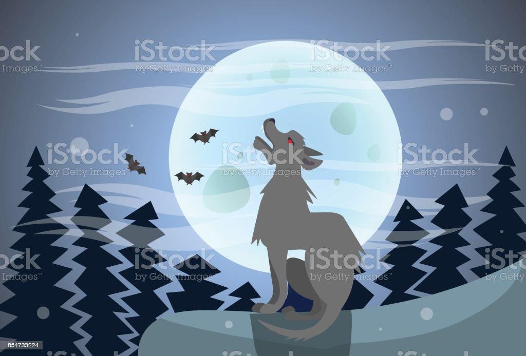 Ilustración De Lobo Aullando En La Luna A La Noche Feliz Halloween