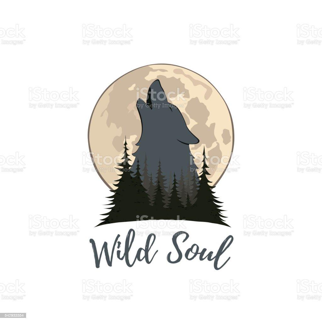 Wilk Wyjący Na Księżyc W Lesie Stockowe Grafiki Wektorowe