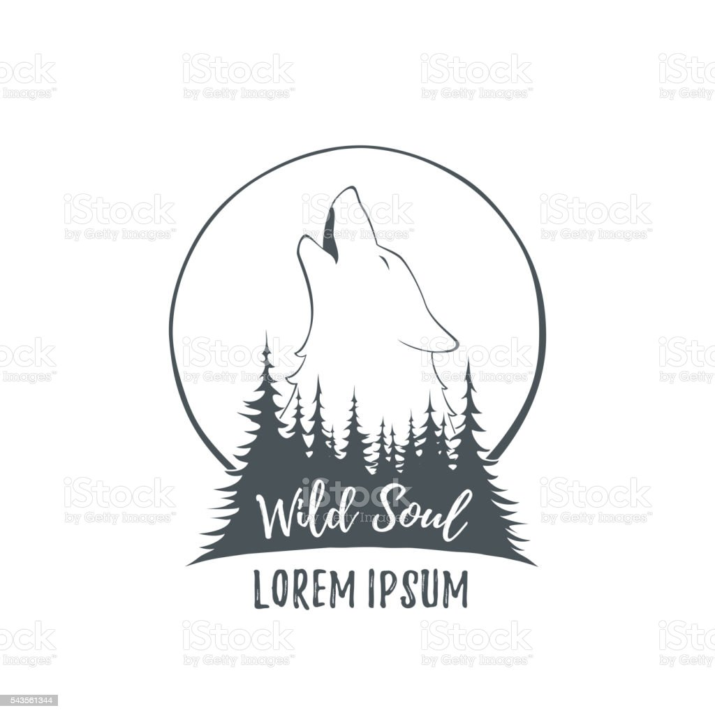 Wilk Wyjący Na Księżyc W Lesie Stockowe Grafiki Wektorowe I Więcej Obrazów Członek Gangu