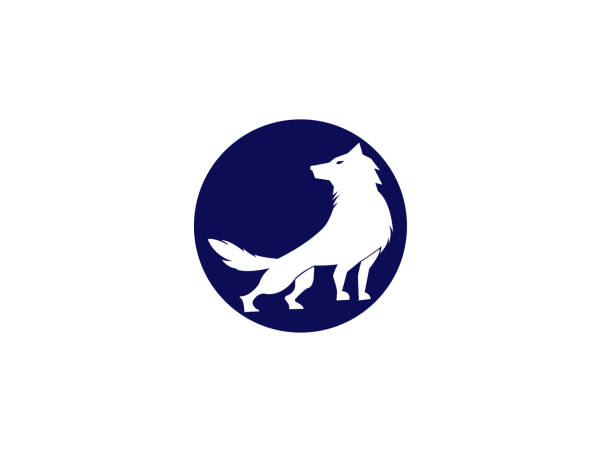 wolf howling on the top mountain and moon for logo illustration design wolf howling on the top mountain and moon for logo illustration design silhouette of a howling coyote stock illustrations