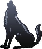Wolf Howling Silhouette. Major elements layered separately. 2 spot colors plus black. Simple gradients and shapes for easy printing, separating and color changes. File formats: EPS and JPG