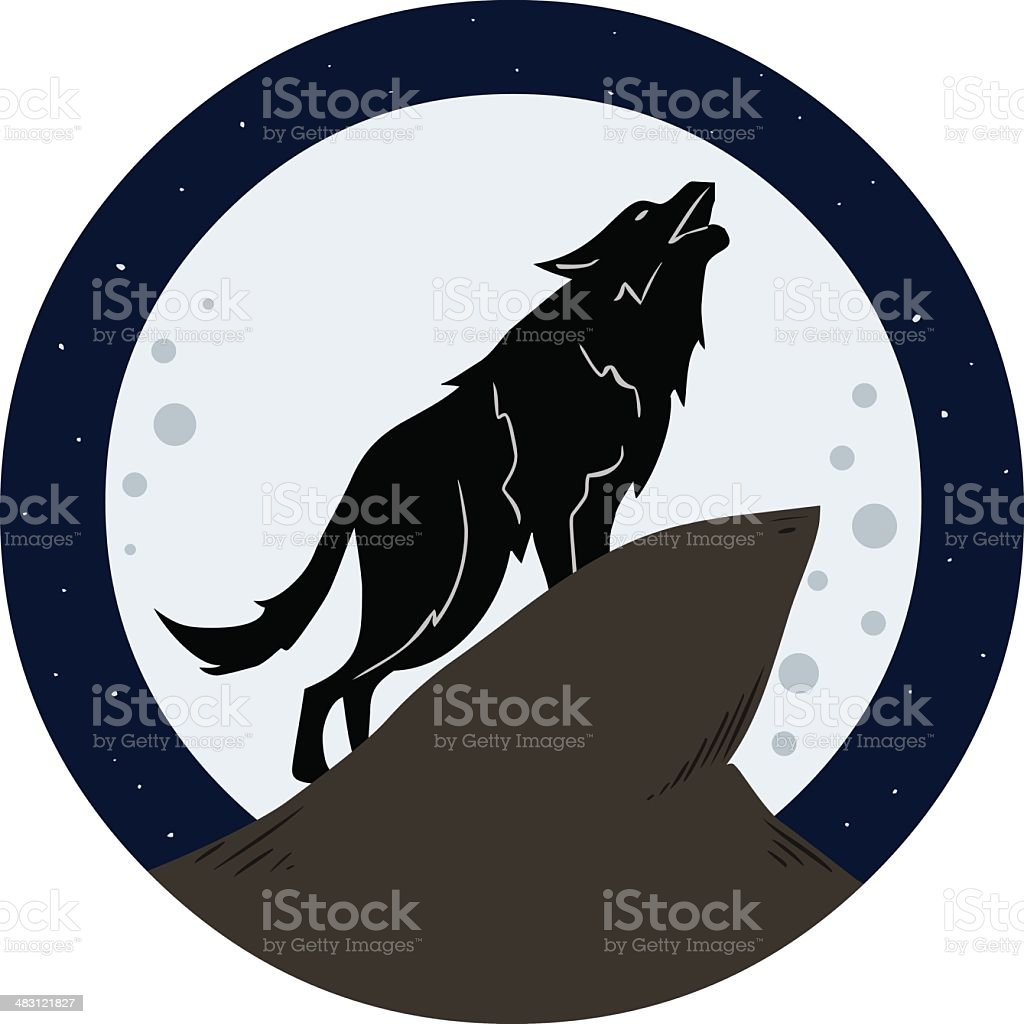 Wolf Howling To The Moon At Night vector art illustration