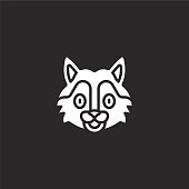 wolf icon. Filled wolf icon for website design and mobile, app development. wolf icon from filled animal avatars collection isolated on black background.