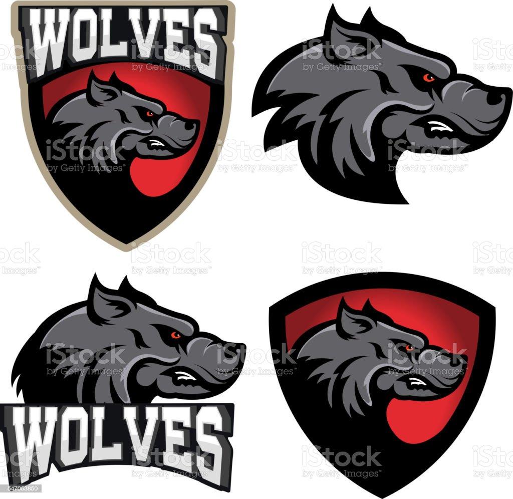 Wolf illustration. Angry Wolves, sport club or team emblem vector art illustration