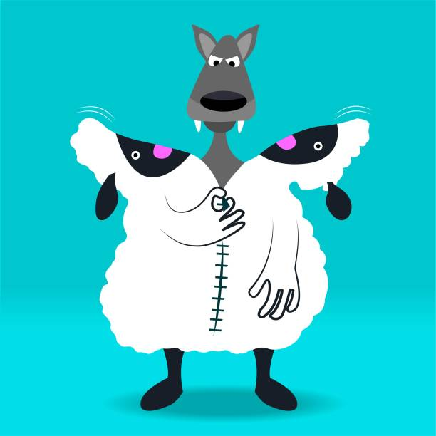 Wolf in a sheep costume A wolf in a sheep costume. dishonesty stock illustrations