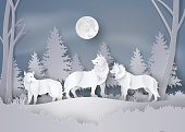 Wolf in forest with snow and fullmoon
