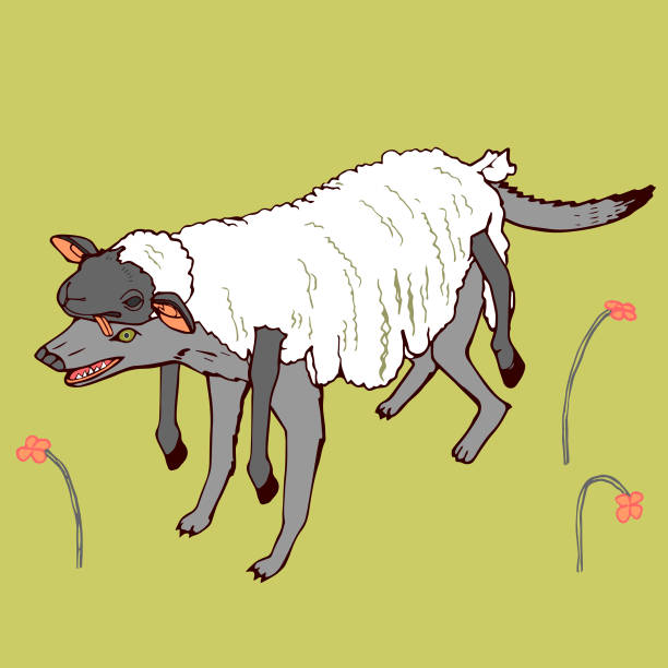 Wolf in Sheep's Clothing Hand-Drawn Vector Clip Art Illustration vector art illustration