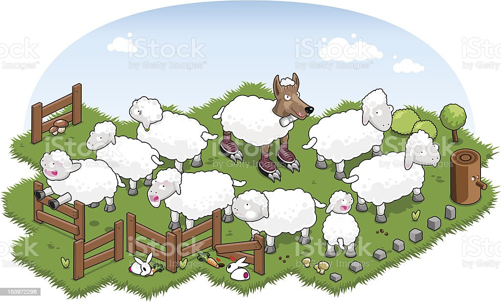 Wolf in sheeps clothing in flock of sheep (vector) vector art illustration