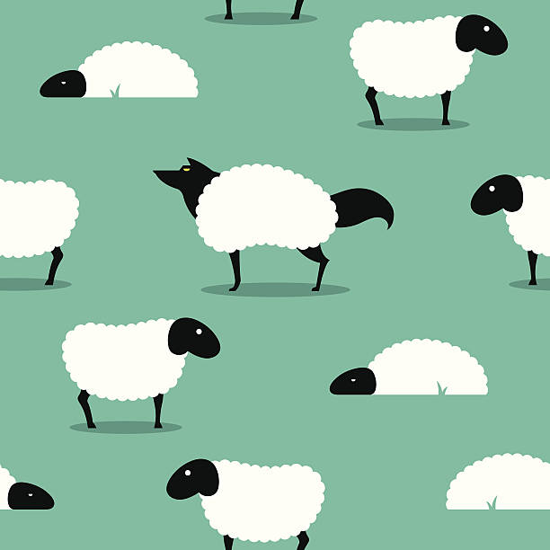 Wolf In Sheeps Clothing seamless Background idiom Wolf In Sheeps Clothing seamless Background, wolf dressed in sheep fleece hiding out in the flock dishonesty stock illustrations