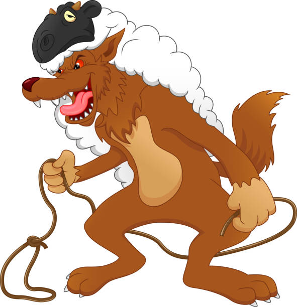 wolf im schafspelz - hundehaarbögen stock-grafiken, -clipart, -cartoons und -symbole