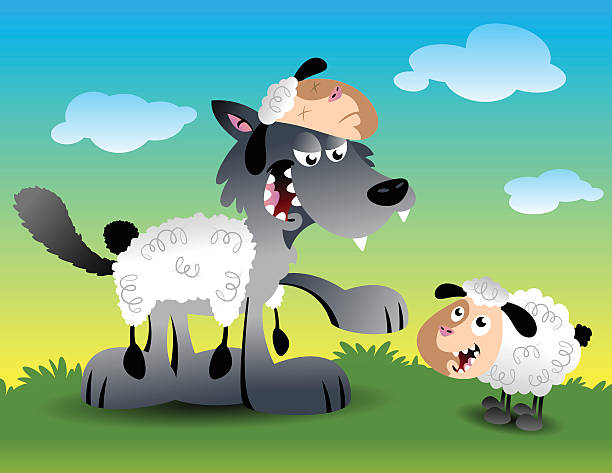 Wolf in sheep's clothing vector art illustration