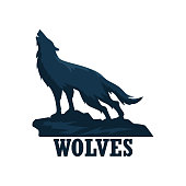 wolf insignia isolated on white background. vector illustration