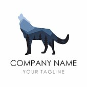 Wolf label Design Template consisting of forest background. Vector Illustration