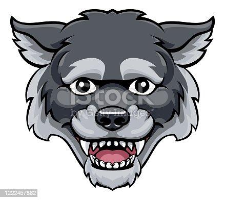 istock Wolf Mascot Cute Happy Cartoon Character 1222457862