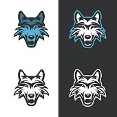 Wolf mascot for sport teams. Vintage vector illustration.