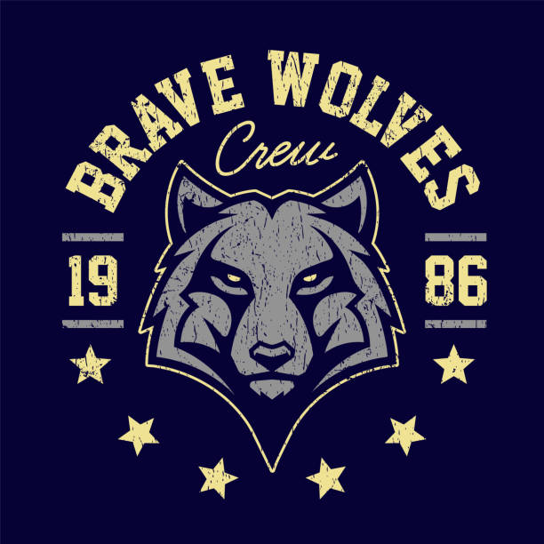 Wolf Mascot Grunge Emblem Design Wolf mascot grunge emblem design. T-shirt design for sport team with wolf looking dangerous. Vector art. mascot stock illustrations