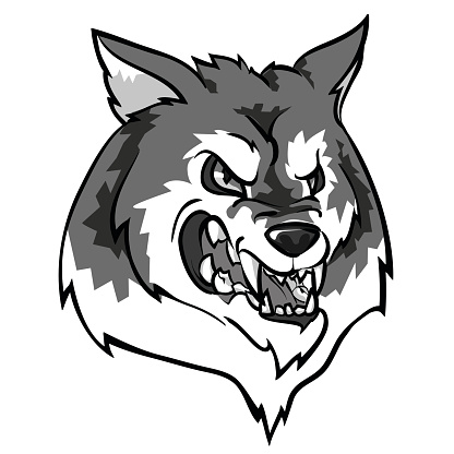 Wolf mascot, team label design
