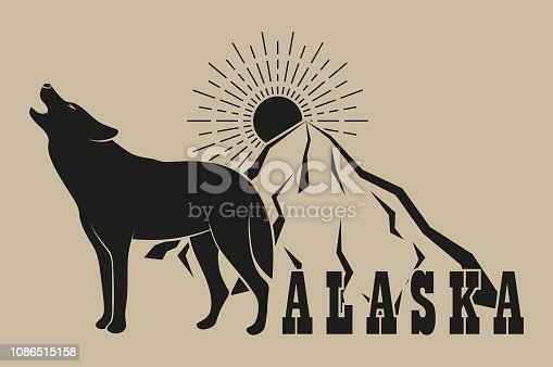 The illustration shows a wolf mountain sun and the text Alaska on the background. Illustration on the theme of nature.