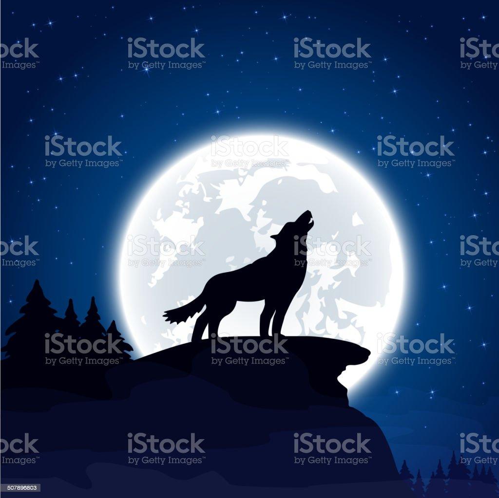 Wolf on Moon background vector art illustration