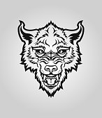 Wolf head silhouette. Angry dog or wolf face with open mouth cut out vector character mascot