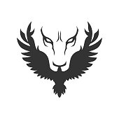 Stylized icon with wolf or lion face and bird of prey