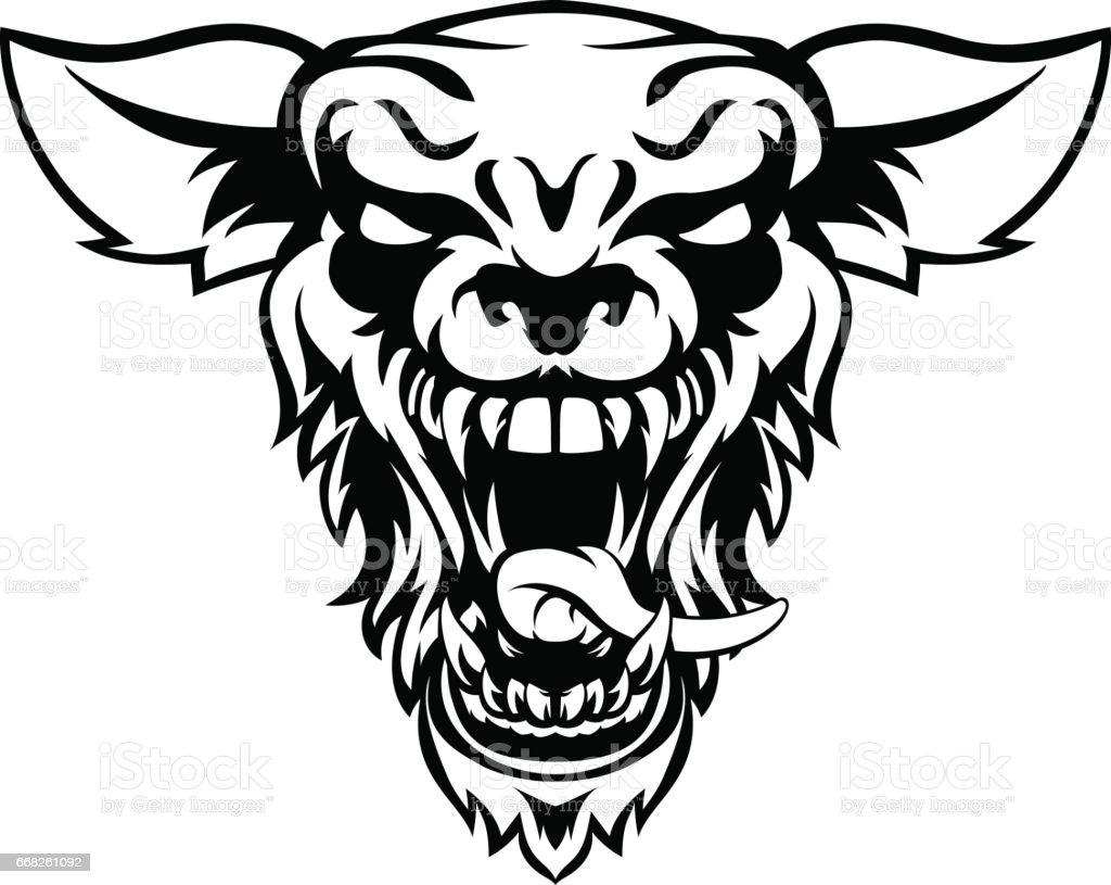 Wolf or Werewolf Mascot vector art illustration