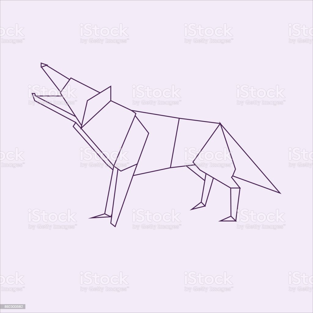 Wolf Origami Stock Vector Art More Images Of Abstract 892300582