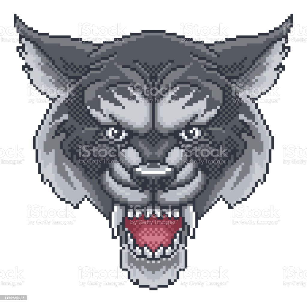 Wolf Pixel Art Arcade Game Cartoon Mascot Stock Illustration
