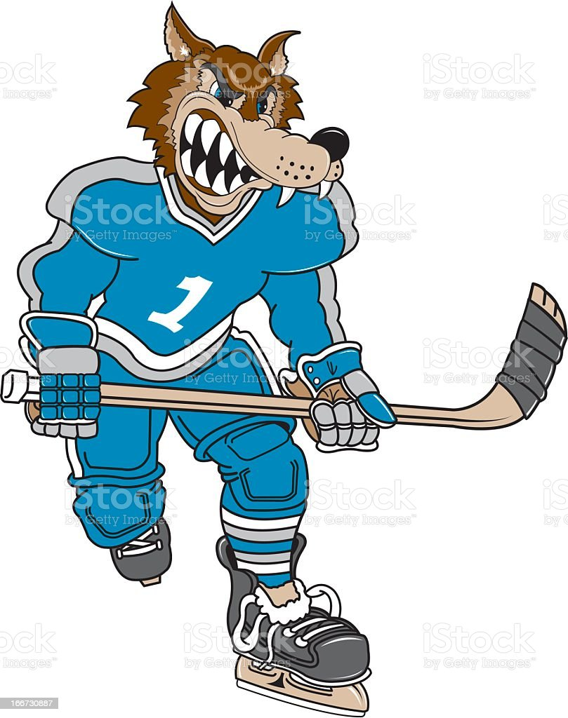 Wolf Playing Hockey royalty-free wolf playing hockey stock vector art & more images of athlete