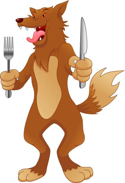 wolf bereit, cartoon zu essen - hundehaarbögen stock-grafiken, -clipart, -cartoons und -symbole