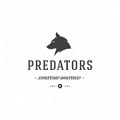 Retro Vintage Insignia or Logotype Vector design element, business sign template wolf face.