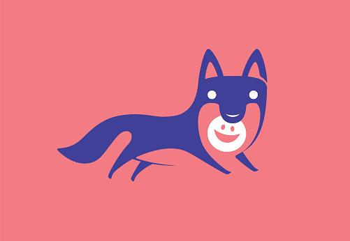 wolf running and holding happy emoji