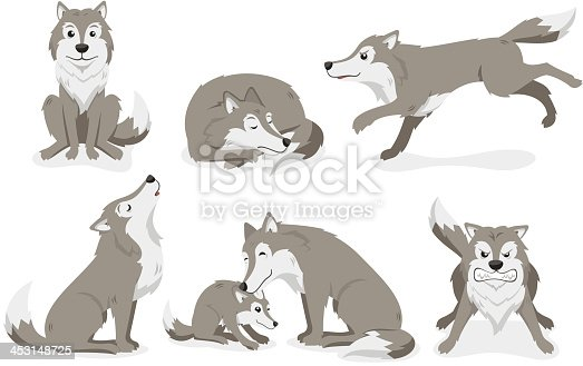 Wolf Set, with Standing Wolf, Sleeping Wolf, Running Wolf, Howling Wolf and angry Wolf. Vector illustration cartoon.