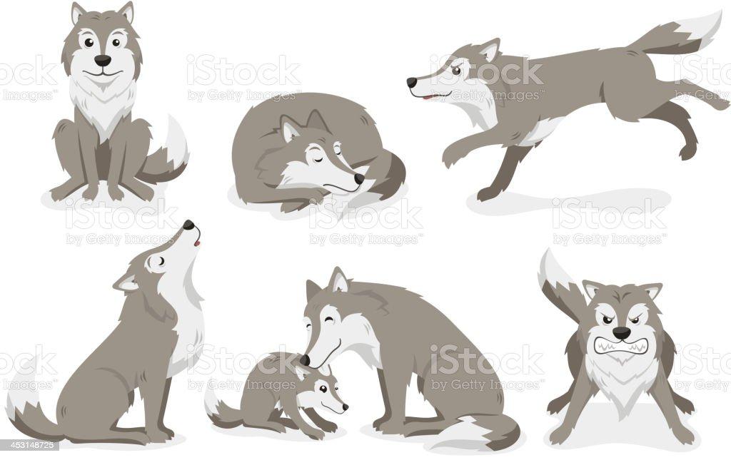 Wolf Set stehende Schlafen running Heulen Ungry – Vektorgrafik