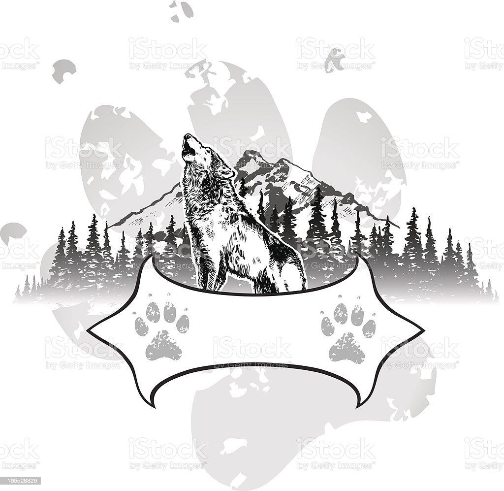 Wolf Shield vector art illustration