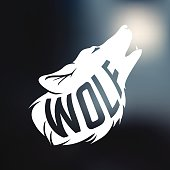 Wolf silhouette with concept text inside wolf on blur background. Vector illustration