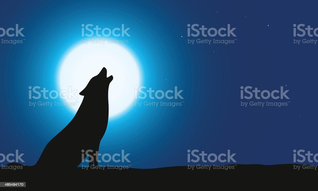 Wolf sitting and roaring on the ground vector art illustration
