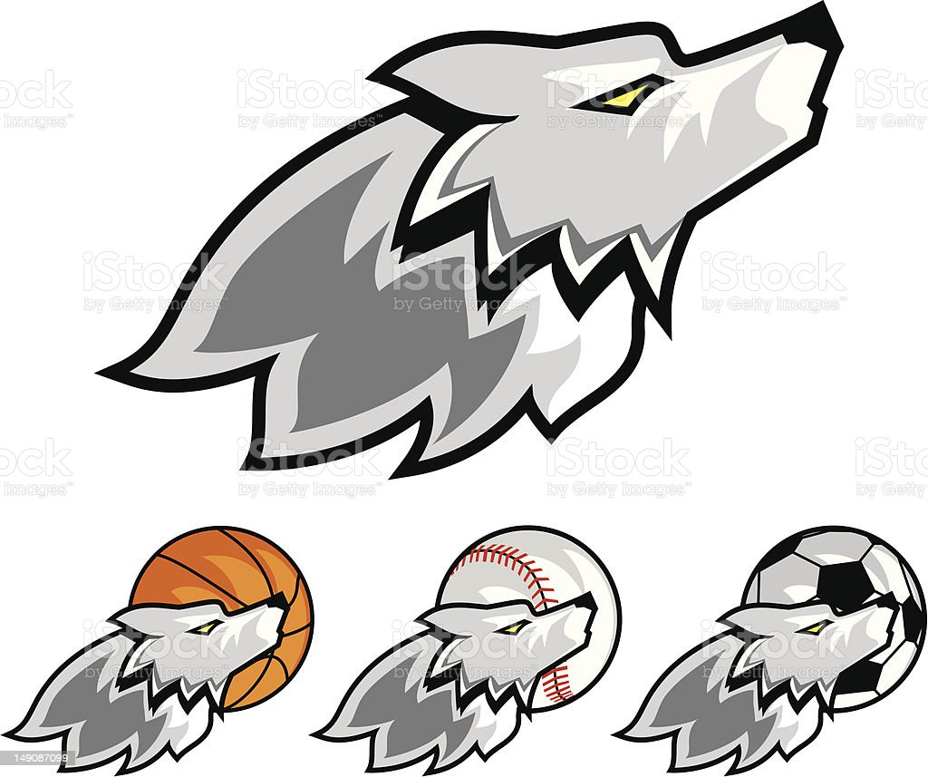 Wolf Sports Mascot royalty-free stock vector art