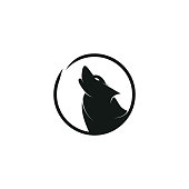 Creative howling wolf icon logo concept.