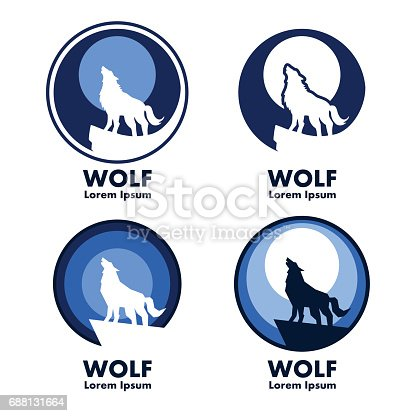 Wolf with moon emblems in vector