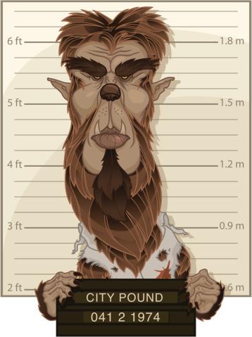 Wolfman Mug Shot Stock Illustration - Download Image Now
