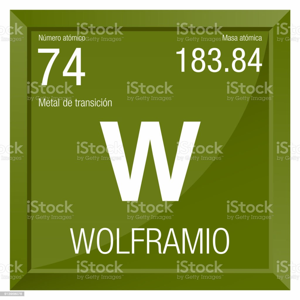 Wolframio Symbol Tungsten In Spanish Language Element Number 74 Of