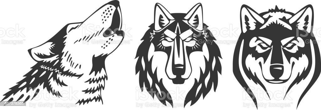 Wolfs vector heads vector art illustration